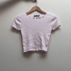 Brandy Melville Baby pink striped rianne top